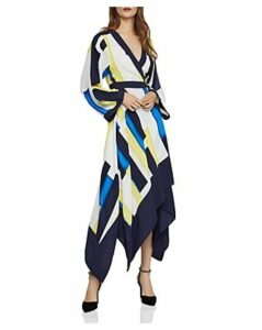 Bcbgmaxazria Color-Block Handkerchief Wrap Dress