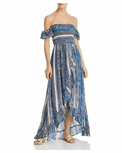 Surf Gypsy Off-the-Shoulder Smocked Bodice Ruffled Maxi Dress Swim Cover-Up