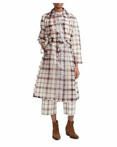 Maje Guarette Check Trench Coat