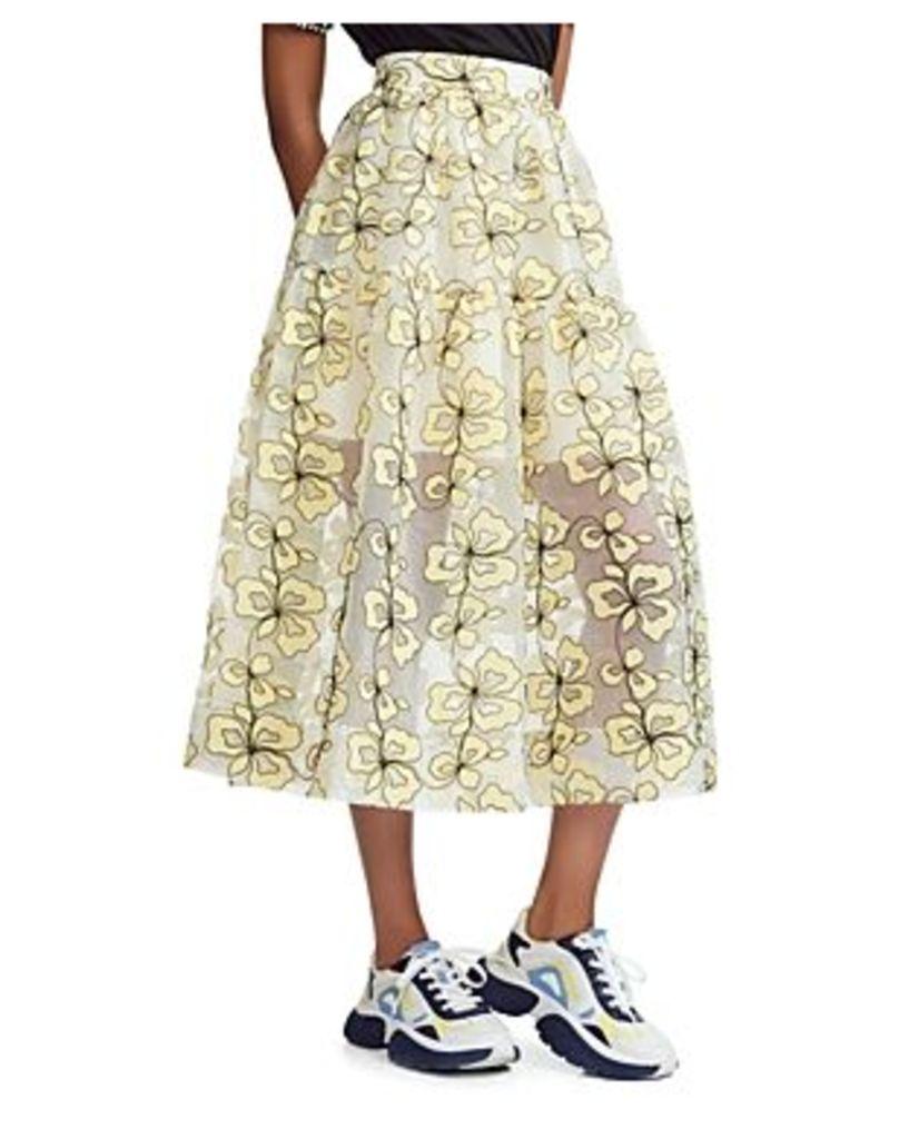 Maje Jizia Floral-Embroidered Midi Skirt