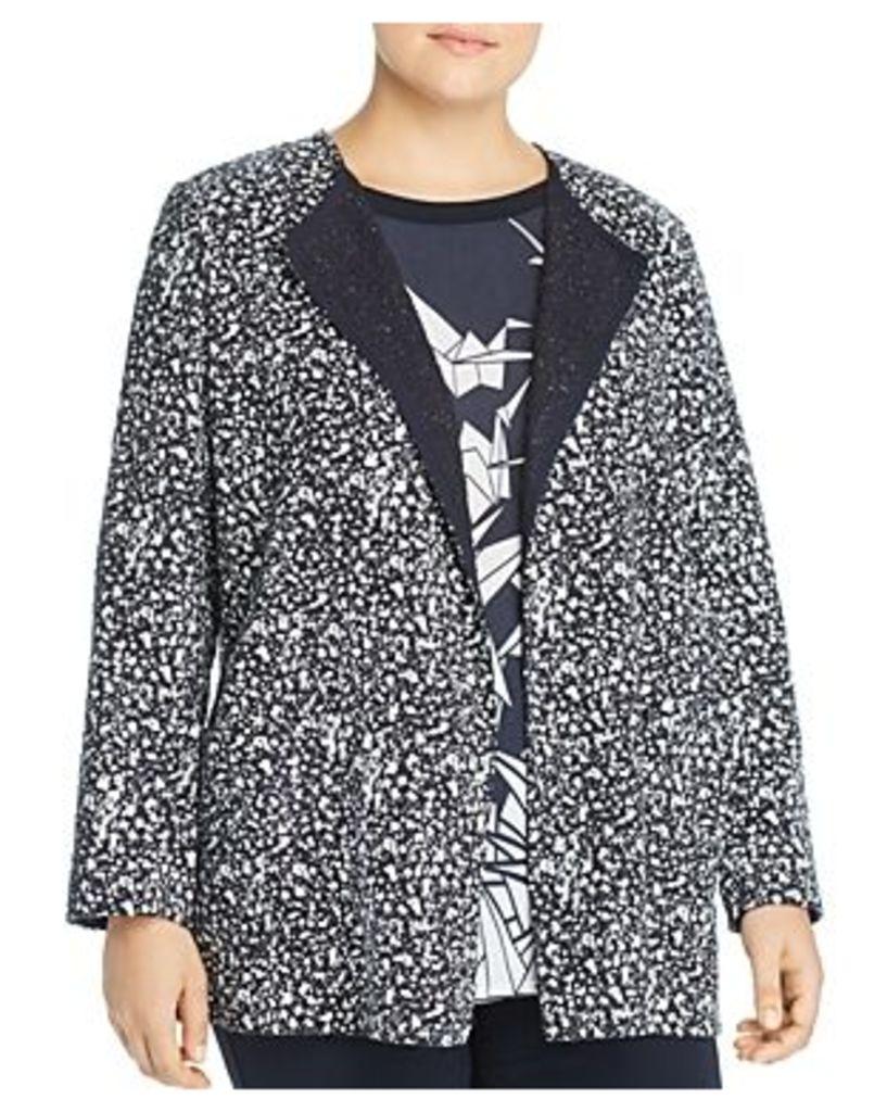 Marina Rinaldi Fantasia Splatter-Tweed Open Jacket