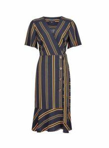 Womens Navy Stripe Print Short Sleeve Wrap Dress- Blue, Blue