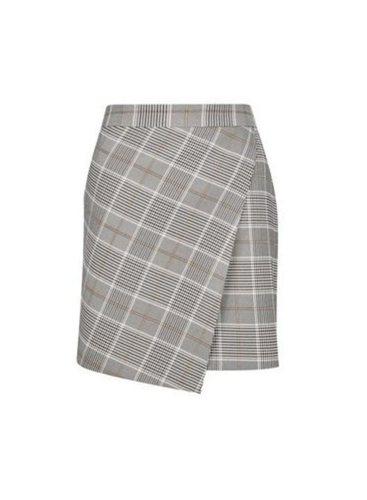 Womens Grey Charlie Check Wrap Skirt- Grey, Grey