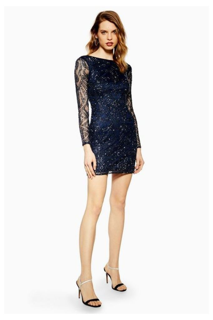 Womens **Embellished Dress By Lace & Beads - Navy Blue, Navy Blue