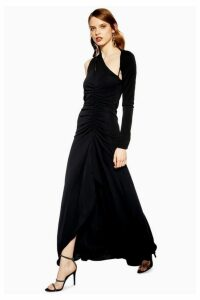 Womens Slash Jersey Maxi Dress - Black, Black
