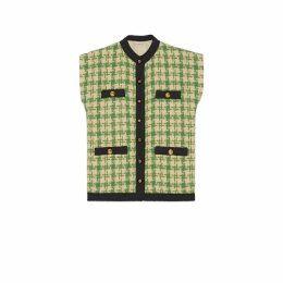 Houndstooth sleeveless vest with ribbon trim