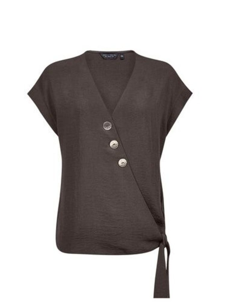 Womens Black Button Wrap Top- Black, Black
