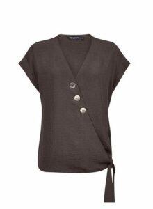 Womens Black Button Wrap Top- Black, Black