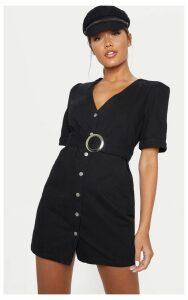 Black Buckle Belt Denim Mini Dress, Black