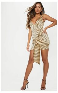 Cream Stripe Plunge Drape Bodycon Dress, White