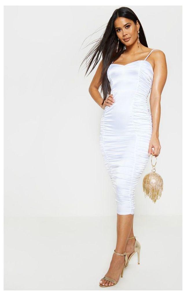 White Satin Ruched Midaxi Dress, White