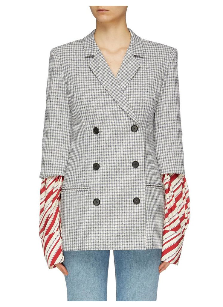 'Truman' stripe sleeve double breasted gingham check blazer