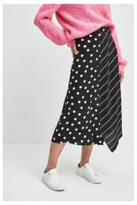 Womens F&F Black Spot Stripe Skirt -  Black