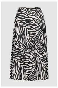 Womens F&F Black Zebra Pleated Skirt -  Black