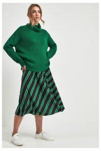 Womens F&F Green Stripe Pleated Skirt -  Green