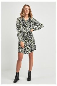 Womens F&F Multi Zebra Shirt Dress -  Natural