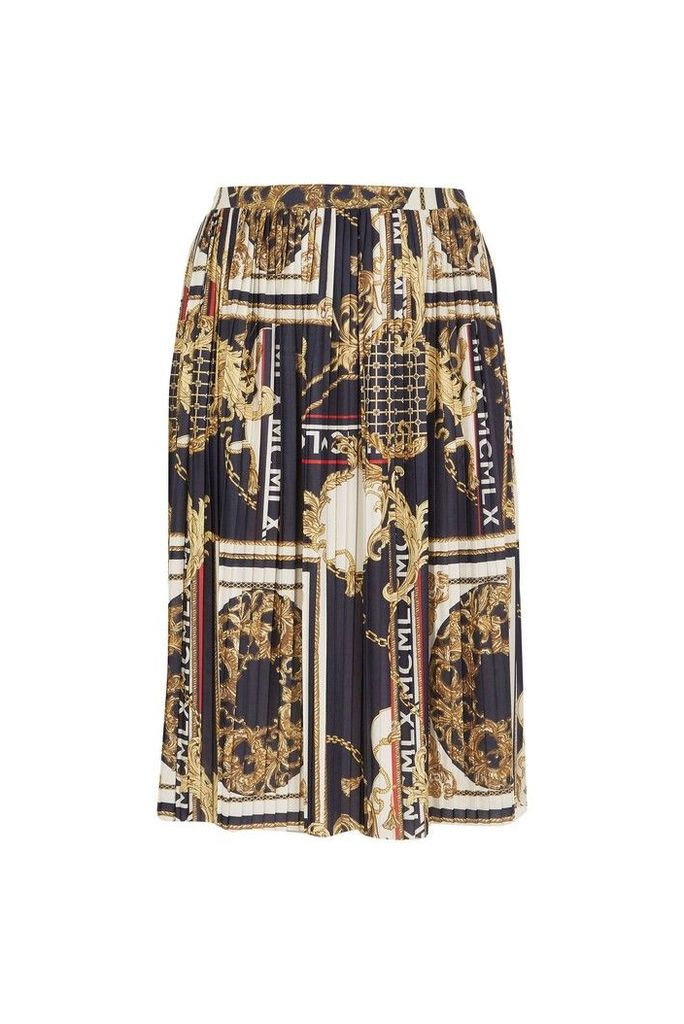 Womens River Island Curve Baroque Print Pleated Skirt -  Black