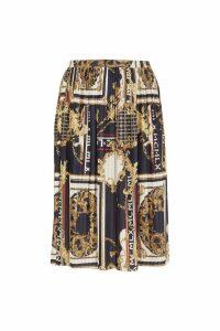 Womens River Island Curve Baroque Print Pleated Skirt -  Black