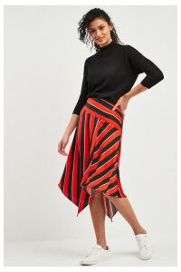 Womens F&F Red Stripe Asymmetric Skirt -  Red