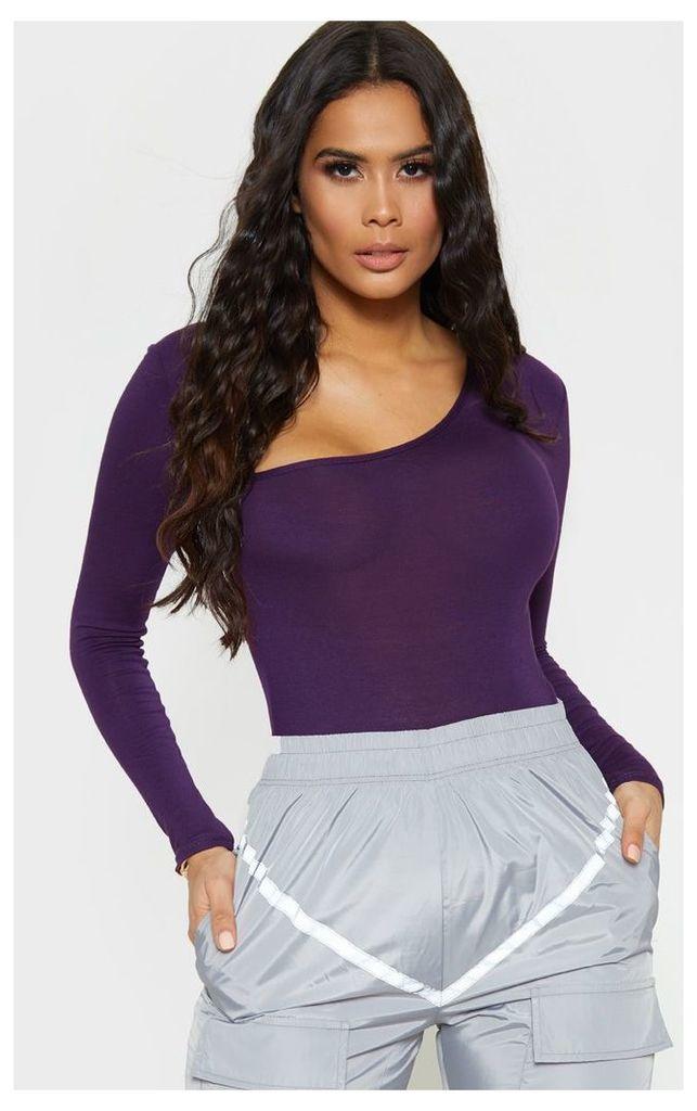 Plum Asymmetrical Jersey Thong Bodysuit, Purple