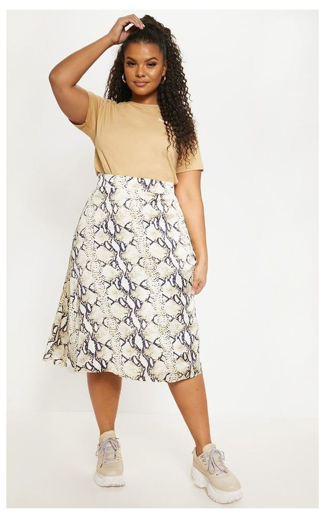 Plus Taupe Snake Print Midi Skirt, Brown