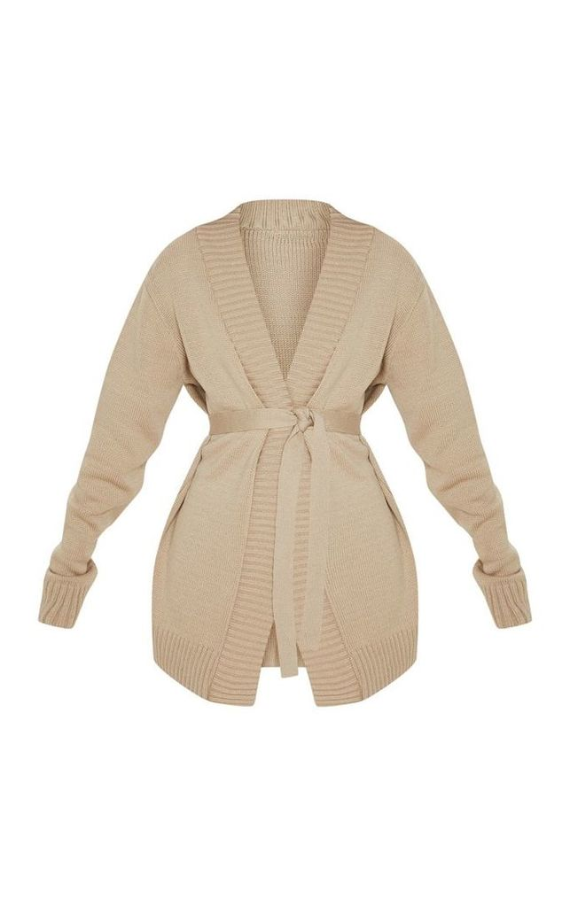 Stone  Belted Knitted Cardigan, White