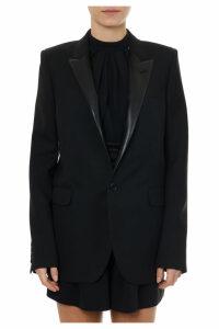 Saint Laurent Black Wool Blazer With Contrasting Lapels