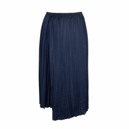 Vince Navy Pleated Satin Midi Skirt
