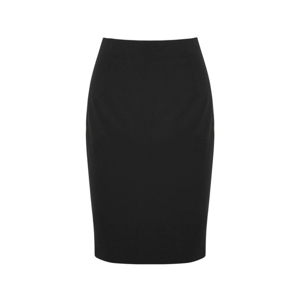 Versace Collection Black Logo Jersey Pencil Skirt