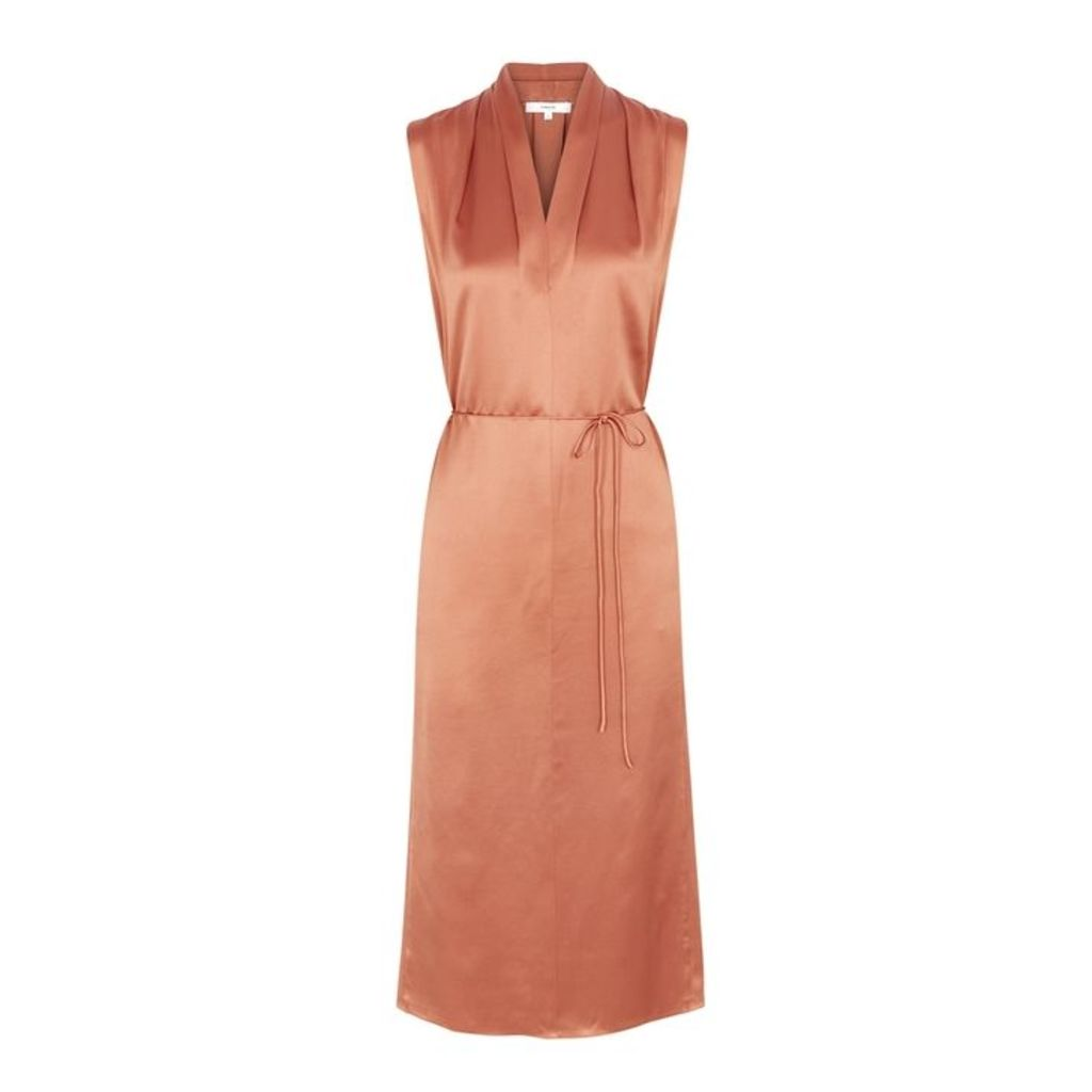 Vince Rust Silk Satin Dress