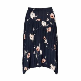 Vince Navy Floral-print Midi Skirt