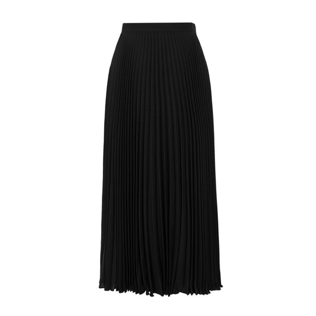 Valentino Black Pleated Silk Chiffon Midi Skirt