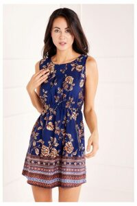Womens Mela London Border Print 2 Zip Dress -  Blue