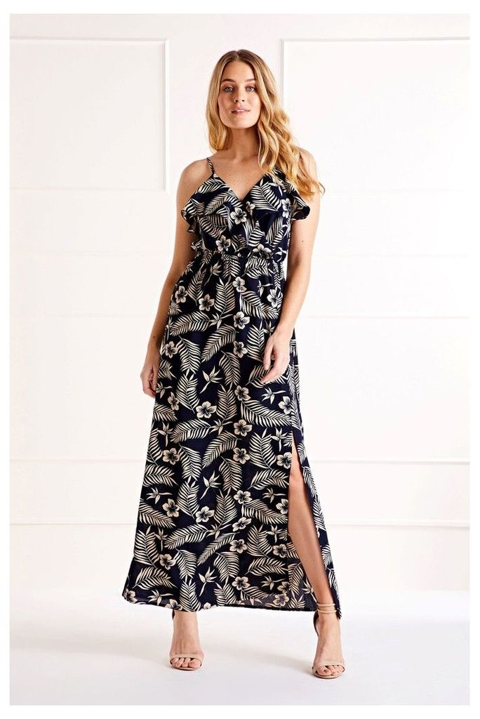 Womens Mela London Monochrome Maxi Dress -  Blue