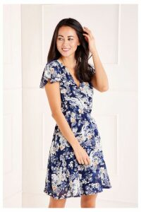 Womens Mela London Floral Wrap Dress -  Blue