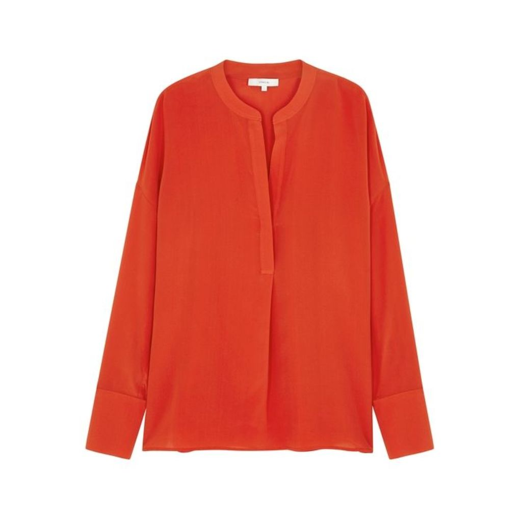 Vince Red Silk Satin Blouse