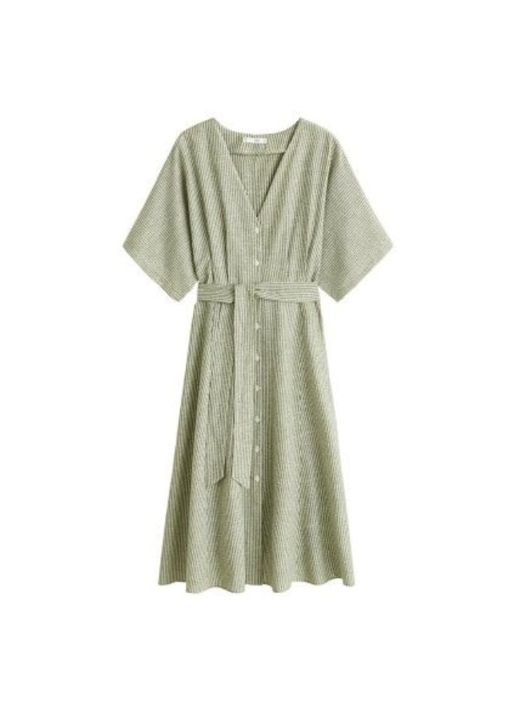 Bow linen-blend dress