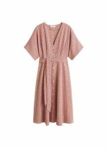 Bow linen-blend dress