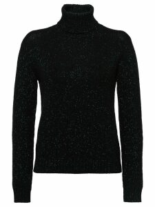 Prada lamé sweater with leather patches - Black