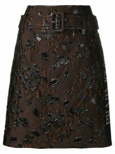 Prada floral jacquard pelmet skirt - Brown