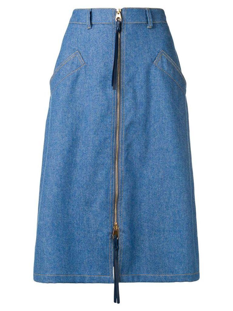 Agnona zip front denim midi skirt - Blue