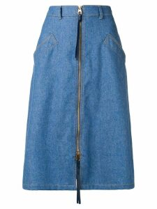 Agnona zip front denim midi skirt - Blue