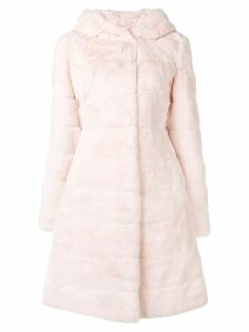 Liska hooded midi fur coat - Pink