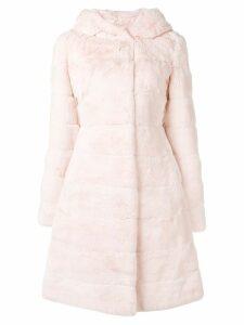 Liska hooded midi fur coat - Pink