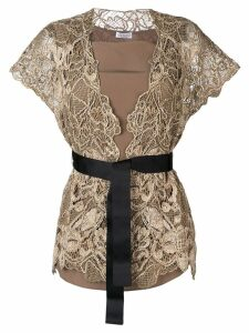 Brunello Cucinelli belted lace top - Gold