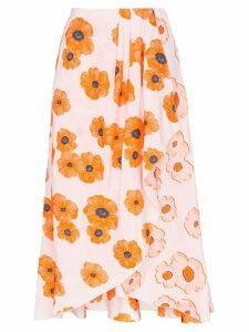 Vika Gazinskaya poppy print asymmetric hem wrap skirt - PINK