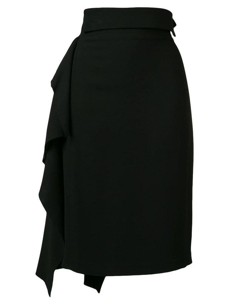 Maison Flaneur ruffle pencil skirt - Black