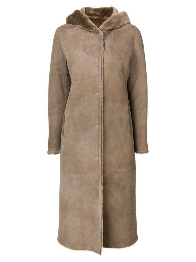 Liska hooded shearling coat - Brown