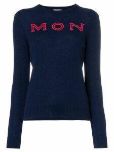 Moncler logo intarsia knitted cashmere jumper - Blue