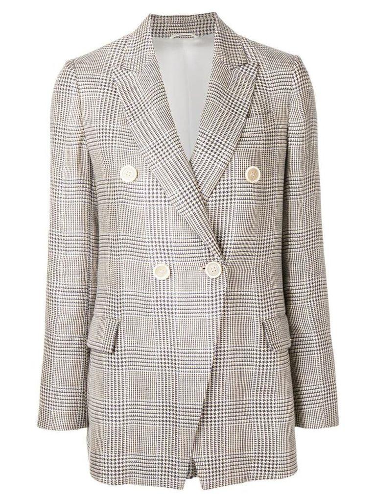 Brunello Cucinelli houndstooth double breasted blazer - Neutrals